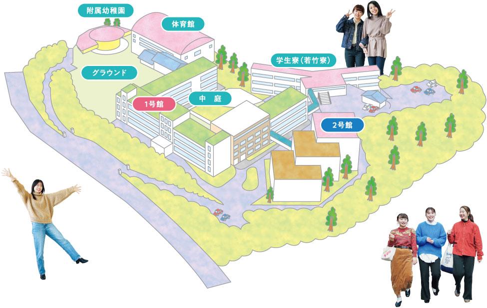 長崎女子短期大学のキャンパスマップ